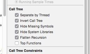 Instruments Calltree Settings
